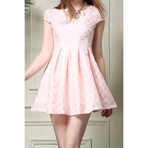 Stylish Polka Dot Cap Sleeve Pleated Dress For Women - Pink S
