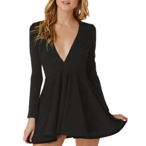 Sexy Plunging Neck Long Sleeve Solid Color Women's Black Dress - Black Xl
