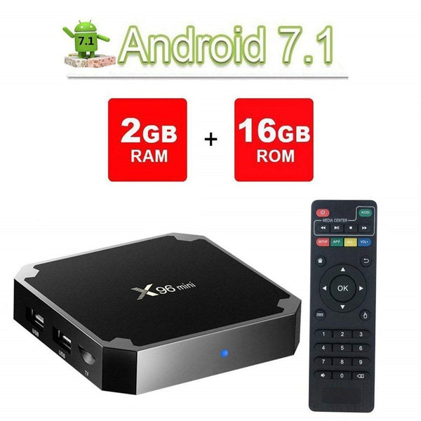Tv Box mini con control remoto, Android 7.1.2 Amlogic S905W Quad Core ARM Cortex A53 2GHz, RAM: 2GB, ROM: 16GB, admite WiFi, HDMI, TF