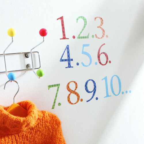 Number Wall Stickers With Counters Harlequin Brights