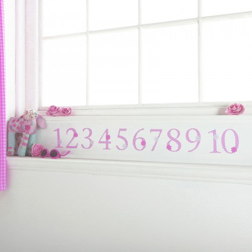 Number Wall Stickers Pink Polka