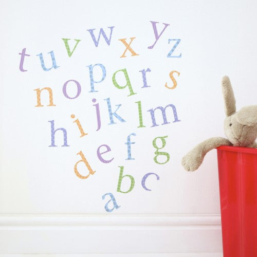 Alphabet Wall Stickers Lower Case Harlequin Pastel
