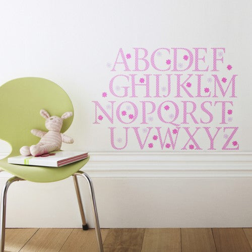Alphabet Wall Stickers Upper Case Pink Polka
