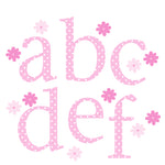Alphabet Wall Stickers Lower Case Pink Polka
