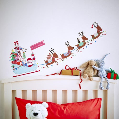Personalised Advent Calendar Sleigh Wall Stickers