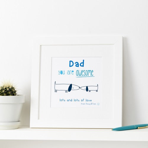 Personalised Dad You Are Awesome Print Blue