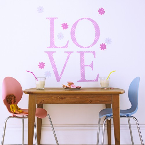 Giant Wall Letter Stickers Pink Polka