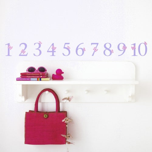 Number Wall Stickers Lilac Butterfly