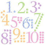 Number Wall Stickers With Counters Harlequin Pastels