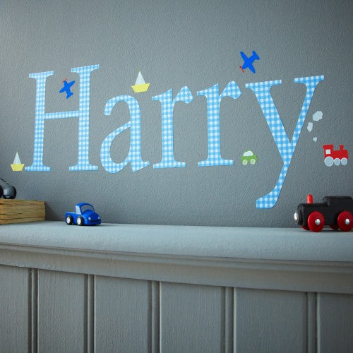 Personalised Wall Letter Stickers Blue Gingham