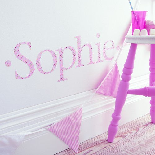 Personalised Wall Letter Stickers Pink Twinkle