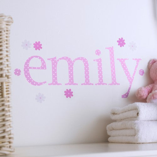 Personalised Wall Letter Stickers Pink Polka