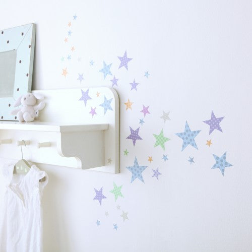 Star Wall Stickers Pastel Harlequin Patterned