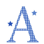 Personalised Wall Letter Stickers Navy Gingham