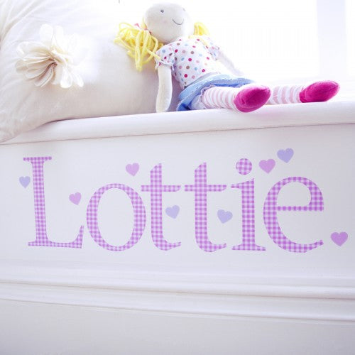 Personalised Wall Letter Stickers Pink Gingham
