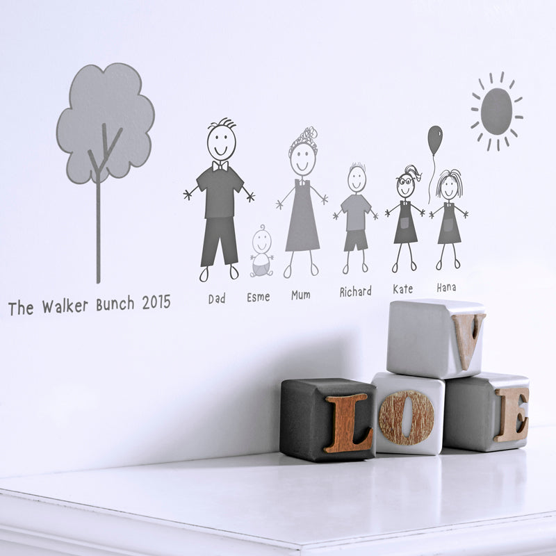 personalised stick family wall sticker portrait – kidscapes wall