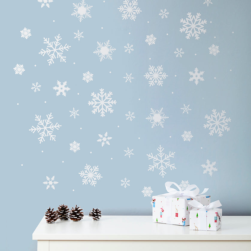 White Snowflake & Snow Dot Wall and Window Stickers