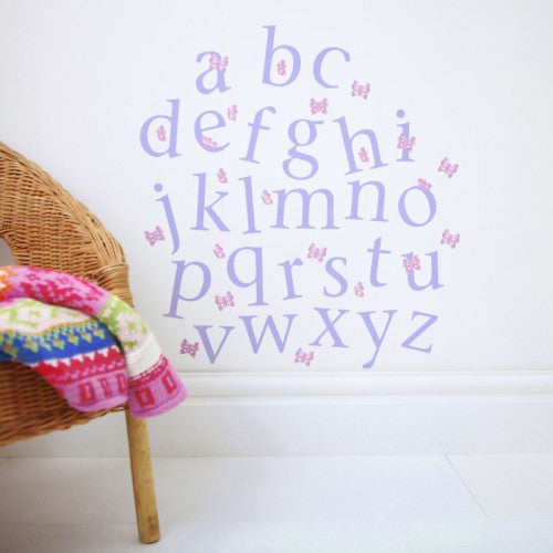 Alphabet Wall Stickers Lower Case Butterfly