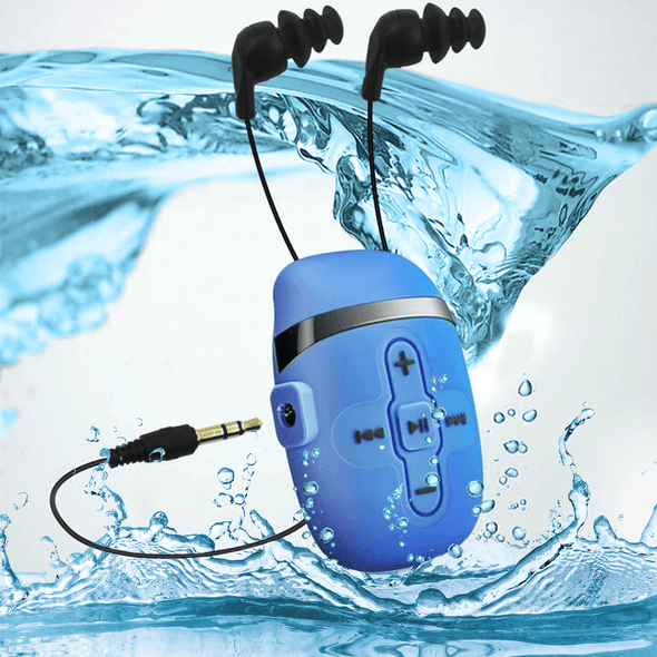 Waterproof MP3 Player for Swimming and Running,Underwater Headphones with Short Cord, Shuffle Feature (Blue) Waterproof Swimming music player Sewobye
