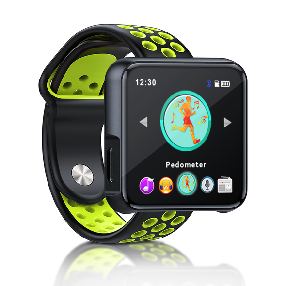 Portable MP3 Player with Bluetooth, MP3 Music Player FM Radio, Smart Watch Sport Women Men Touchscreen(Green strap)