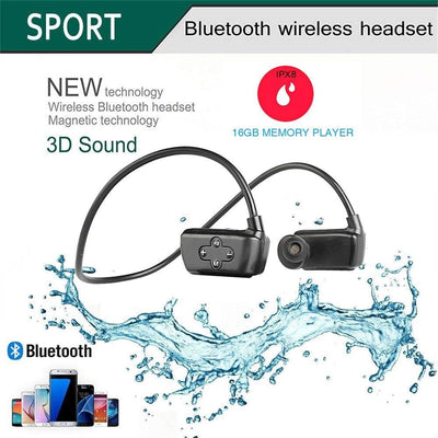 100% Waterproof audiobooks MP3 Stream Player with Bluetooth and Underwater Headphones for Swimming Laps, Watersports, 16GB – by Sewobye Sewosports