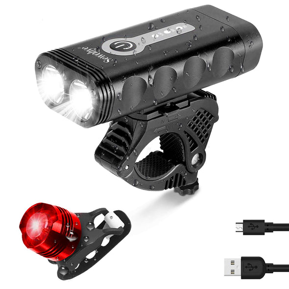 Cycling LED Light, USB Rechargeable and Waterproof, 1000 Lumen  with 2 LED light