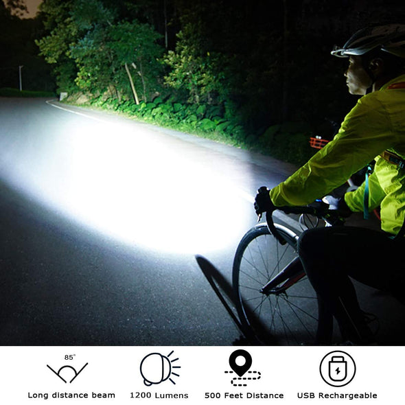Cycling LED Light, USB Rechargeable and Waterproof, 1000 Lumen
