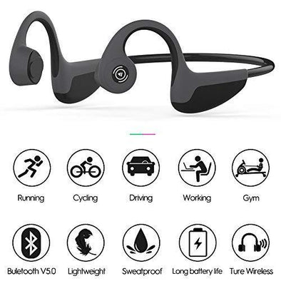 Bone Conduction Headphones Bluetooth 5.0 Open-Ear Wireless Sports Headsets w/ Mic for Jogging Running Driving Cycling, Sweatproof and Lightweight Bone Conduction Headphones Sewosports