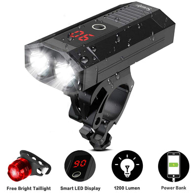 Bike Light Set,  Smart LED Display, Portable Headlight and Tailling Combinations