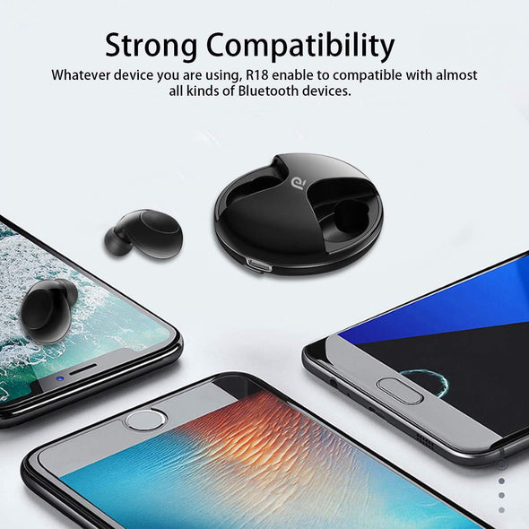 True Wireless Earbuds Bluetooth 5.0, 18H Playtime, 3D Stereo Sound Wireless Bluetooth Headphones Volume Control Wireless Bluetooth Headphones Sewosports