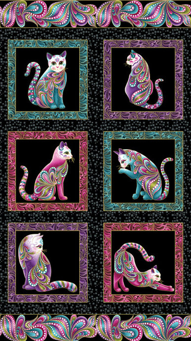 Cat-I-Tude 100% Cotton with Gold Metallic Print 42