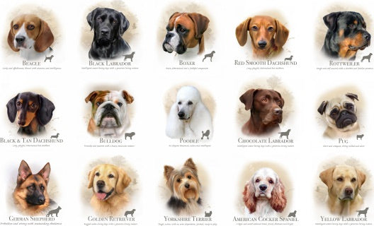 Dog Breeds - Cream by Elizabeth Studio (price per panel)
