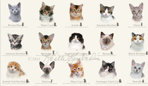 Cat Breeds - Cream by Elizabeth Studio (price per panel)