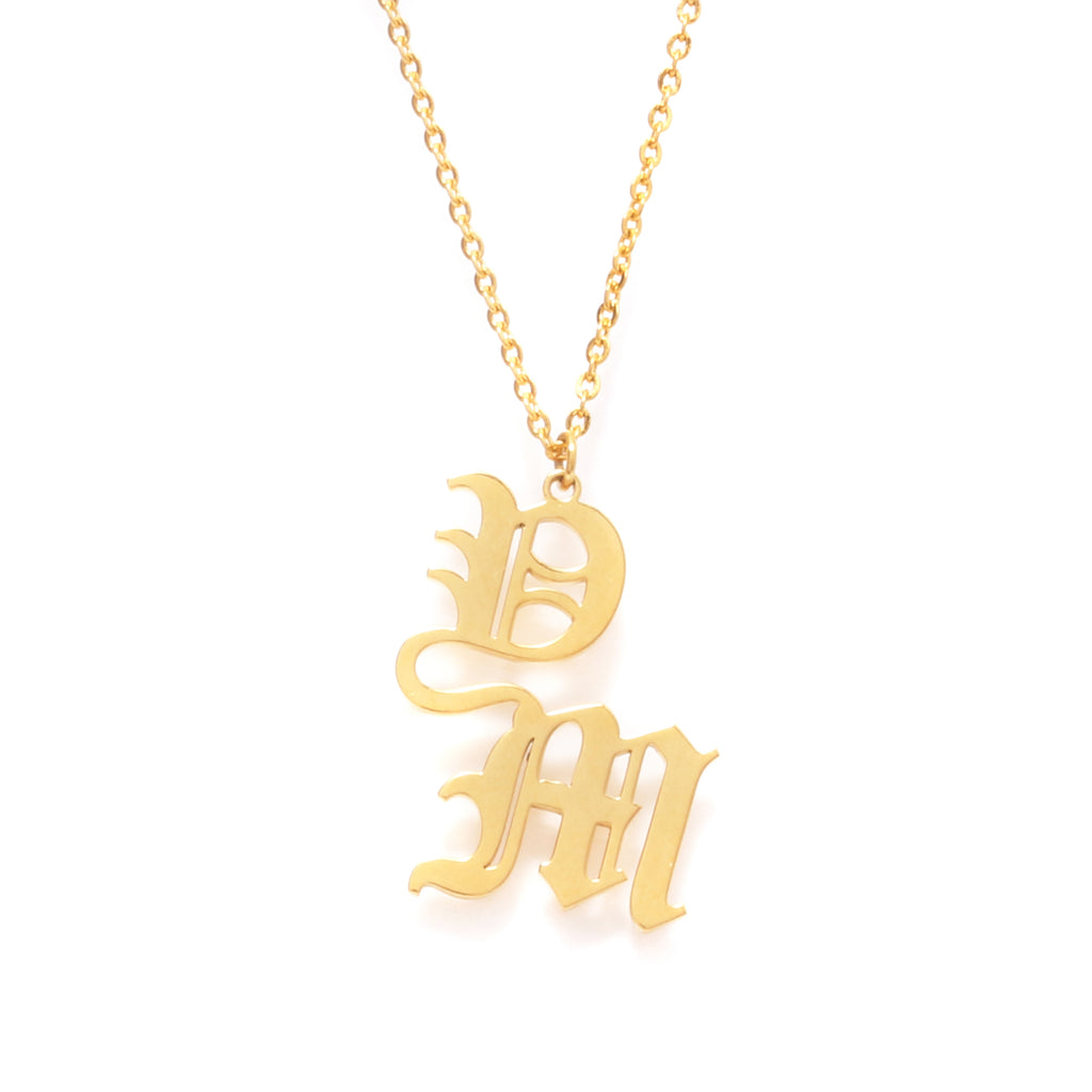 2 letters Name Necklace (choose from 14 fonts)
