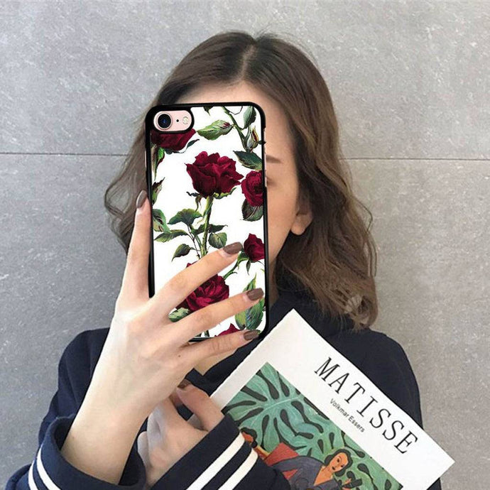 3D Rose Relief Phone Case For iPhone 6 6s 7 8 X Cute Floral Cover for iPhone 6Plus 6sPlus 7Plus 8Plus Capinha funda coque caso