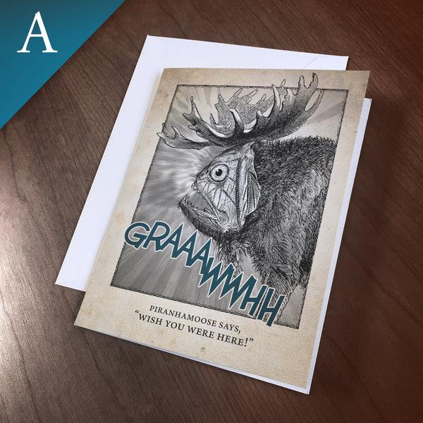 "Greeting Card (Any Occasion) - ""Piranhamoose"""