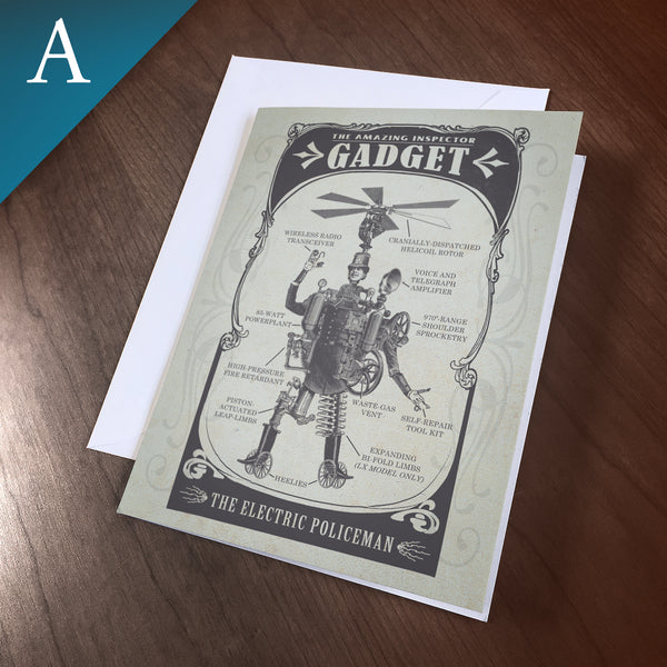 "Greeting Card (Blank Inside) - ""Gadget, The Electric Policeman"""