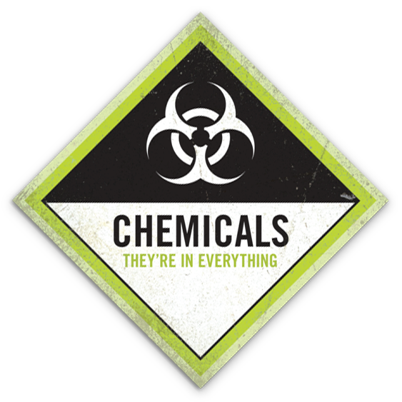 "Chemicals: They're In Everything sticker (4"" square)"
