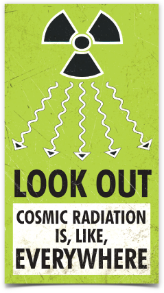 "Look Out, Cosmic Radiation sticker (2.4"" x 4.3"")"