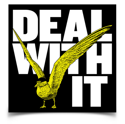 "Deal With It Seagull sticker (4"" square)"