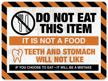 "Do Not Eat This Item sticker (4.3"" x 3.2"")"