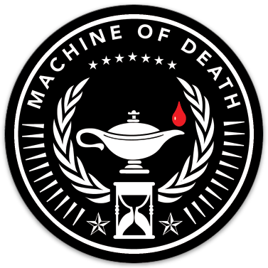 "Machine of Death Emblem sticker (3.5"" circle)"