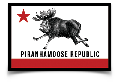 "Piranhamoose Republic sticker (4.25"" x 2.75"")"