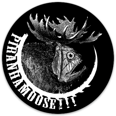 "Piranhamoose sticker (3.5"" circle)"