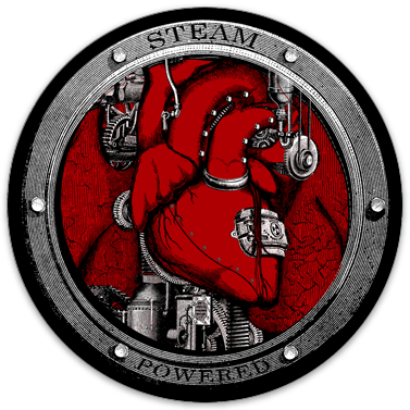 "Steam Powered sticker (3.5"" circle)"