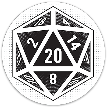 "D20 Gaming Die sticker (3.5"" circle)"