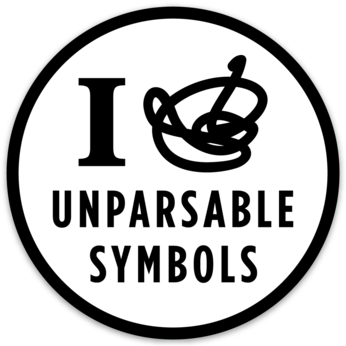 "Unparsable Symbols sticker (3.5"" circle)"