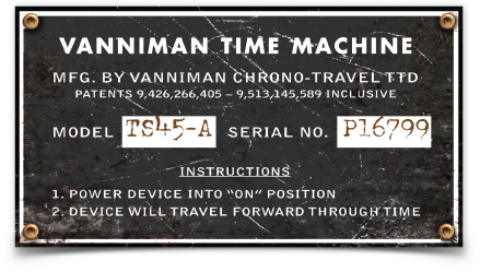 "Vanniman Time Machine sticker (4.3"" x 2.3"")"