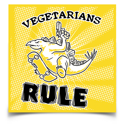 "Vegetarians Rule dinosaur sticker (4"" square)"