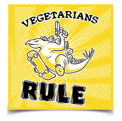 "Vegetarians Rule sticker (4"" square)"